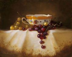 Golden Teacup by Christine Hooker Oil ~ 6 x 6