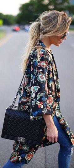 Kate Moss For Topshop Black Women's Silk Paisley Print Kimono by Happily Grey