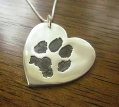 Heart Paw Print Pendant  Made from Your by CustomSilverPendants