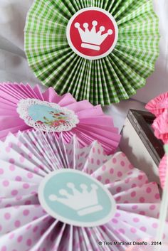 Shabby Chic Birthday Party paper medallions!  See more party ideas at CatchMyParty.com!