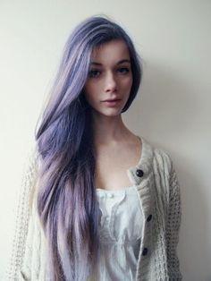LONG purple pastel hair