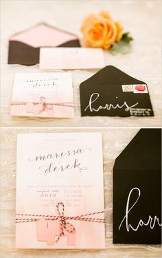 vintage inspired wedding invites #weddinginvitations #weddingchicks http://www.weddingchicks.com/2014/01/29/shabby-chic-barn-wedding/