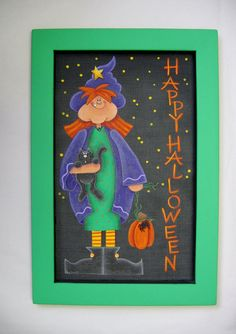 Folk Art Halloween Tall Witch Tole Painted by barbsheartstrokes,
