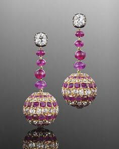 Antique Bead And Square Cut Ruby And Old Mine Cut Diamond Ball Pendant Earrings
