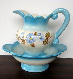 Ceramic Handmade Blue and White Flower Vintage Pitcher.