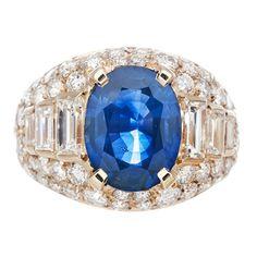 BULGARI Azul Zafiro y Diamante Anillo de diamante de corte mixto