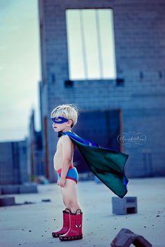 Everybody with a boy needs a superhero photo.