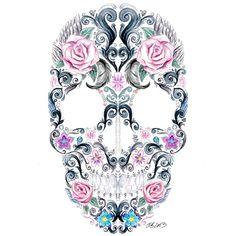 Tattoo charlott willner, tattoo ideas, painting tattoo, pretty skull tattoos, sugar skull, a tattoo, skulls flowers, pretty skulls, pretti skull