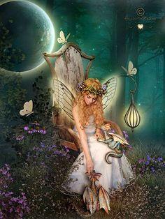 Dragon Fairy angel, magic, fairies, fantasi, faeri, dragons, art, forest, friend
