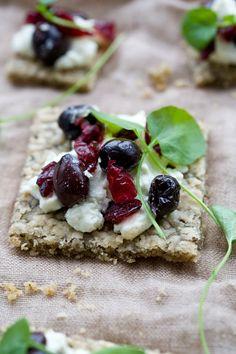 goat cheese, olive, cranberries tartine