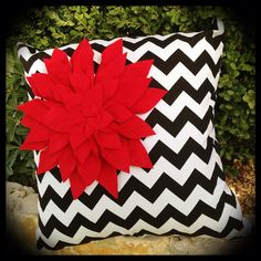 Black and White  Chevron Pillow Cover with Red Felt Flower on Etsy, $25.00