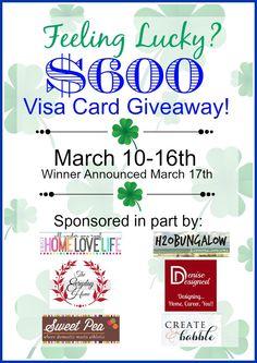 pot of gold, card giveaway, gold 600, gift cards, 600 visa, visa card, blog, 600 giveaway, sweet peas