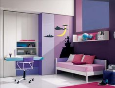 Stylish Youth Boys And Girls Bedroom Design Ideas : Charming Purple and White Youth Girls Bedroom Decoration with White Closet Integrated St...
