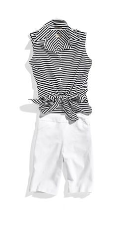 Chico's Effortless Sleek Stripe Sina Shirt. An everyday essential: a sleeveless top to style on its own or as an open top layer.