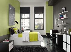 Benjamin Moore Paint Colors - Green Bedroom Ideas - Green Bedroom with City Style - Paint Color Schemes. . . . . A dose of Dill Pickle and charcoal gray gives this urban space a crisp, current aesthetic. . . . . . Walls (by head of bed plus accent wall in corner beside windows) - Dill Pickle (2147-40); Wall (around windows) & Ceiling - Dove Wing (OC-18); Accent Wall (by desk) - Kendall Charcoal (HC-166).