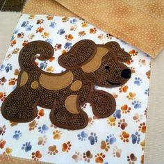 Dog Applique Quilt by LIraCraft on Etsy