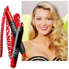 """""""Blake wanted a classic matte red lip,"""" said makeup artist Elaine Offers, who created Lively's Old Hollywood-inspired look for the Los Angeles premiere of """"Savages."""" """"We went with the NARS Velvet Matte Lip Pencils in Dragon Girl and Red Square."""" Grab both shades for $24 each at narscosmetics.com."""