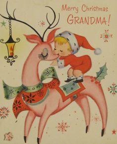 Merry Christmas Grandma, vintage card