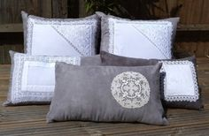 http://naturalmoderninteriors.blogspot.com.au/2013/08/recycled-fabric-cushion-ideas.html | Recycled Fabric Cushion Ideas made from vintage lace.