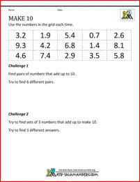 5th Grade Math Puzzles - Make 10. A decimal addition puzzle where you have to find pairs of sets of 3 numbers which add up to 10.
