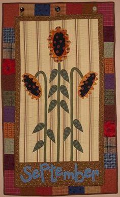 month quilt, quilt design, sunflow quilt, art quilt, small quilt