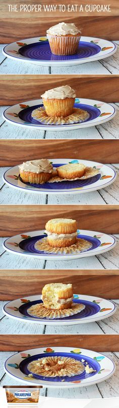 The proper way to eat a cupcake: Slice your cupcake in half, flip the top half over sandwiching your topping between both halves, and enjoy this new way of living. #foodhack #dessert