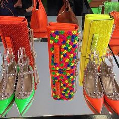 .@fashionistaac | Valentino 2014 neon color bright rock stud shoes and handbags for spring