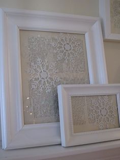 Put Dollar store snowflake ornaments against vintage paper in photo frames~ great vintage style holiday decoration-