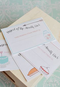 Dessert of the Month Club with printable cards
