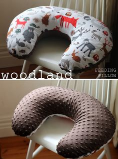 thrift. nest. sew.: DIY boppy nursing baby pillow. woodland, forest creatures, home made craft.