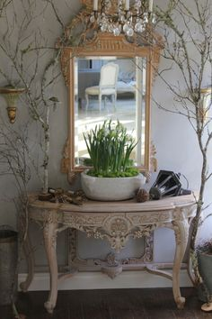 mirror, vignett, grand entrance, french country, foyer, christmas eve, tree branches, entryway, console tables