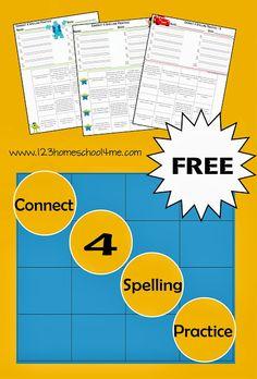 Connect 4 Spelling Practice - FREE Spelling Worksheet for Kindergarten, 1st Grade, 2nd Grade, 3rd Grade, 4th Grade