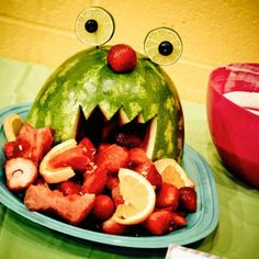 monster fruit bowl monster party, fruit bowls, fruit salads, birthday parties, food, fruit platters, kid parti, watermelon, little monsters