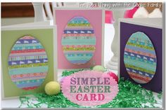 Use ribbon or washi tape to make a super cute Easter Egg shaped card!  DIY Easter Card