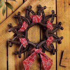 Horseshoe Wreath with Bandanna - Party Decorations & Room Decor