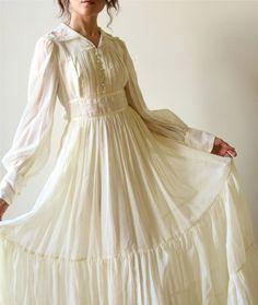 70s Gunne Sax Boho Wedding Dress - vintage ivory bone off-white cotton voile Bridal Gown, Fall hippie wedding gown, country prairie style