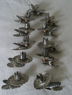 Antique Tin Xmas Tree Clip On Candle Holder