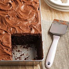 Cozy up with a slice of this incredible Dark Cocoa Buttermilk Cake with Cocoa Mascarpone Frosting: http://www.bhg.com/recipes/desserts/cakes/chocolate/chocolate-cakes/?socsrc=bhgpin091614buttermilkcake&page=3