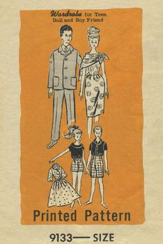 "Vintage Barbie™ Doll Clothes Sewing Pattern | Wardrobe for Teen Doll and Boy Friend | Mail Order 9133 | Envelope postmarked July 5, 1962 | Teen Age Model Doll - size 11½"" in height. Boy Friend Doll - size 12"" in height."