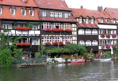 Klein-Venedig Riverfront area displaying their nice flower box display in Bamberg Germany