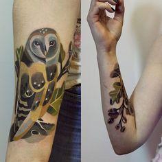 owl tattoo ink graphic geometric bold