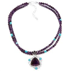 Jay King Amethyst and Turquoise Pendant with Necklace