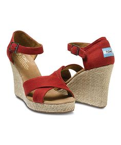 Red Canvas Wedge Sandal by Toms $44.99