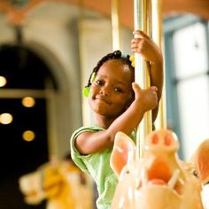 """FUN FACT: Did you know the animals on PTM's gorgeous Dentzel Carousel were built in the """"Philadelphia-style,"""" meaning they were sculpted in vibrant, life-like detail? Be sure to check out the various animals, including pigs, goats, cats, rabbits, and of course, horses, the next time you take a spin!"""