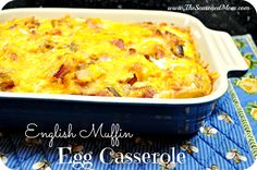 English Muffin Egg Casserole on MyRecipeMagic.com: All of the flavors of your favorite Bacon-Egg-and-Cheese sandwich from the drive-thru, in one easy make-ahead dish.  We love breakfast for dinner!