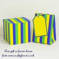 Free to download and print blue, green and yellow striped gift or party favour boxes and gift tag.