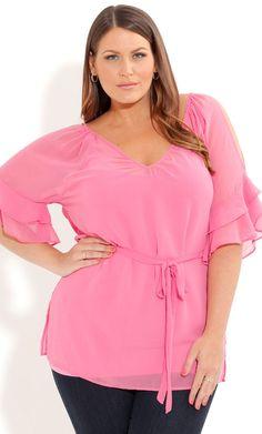 Pink Chiffon Top, Women s Size 14-24W | ElegantPlus.com Spring 2013