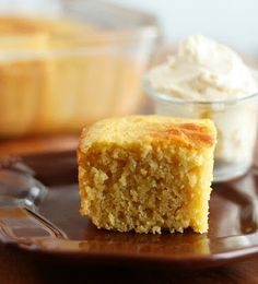 Moist, fluffy Cornbread.  You wouldn't believe this is lightened up, it tastes better than the traditional!