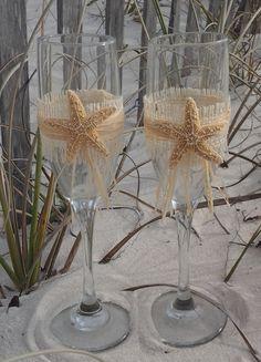 Burlap and Sugar Starfish Destination Beach Wedding Toasting Glasses. $25.00, via Etsy.