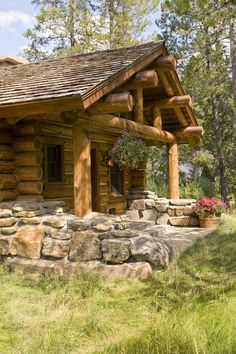 Pretty porch at the end of the log cabin